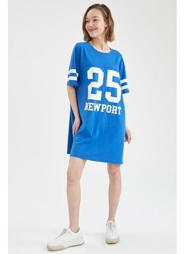 DeFacto Numara Baskılı Oversize Fit Tişört Elbise Mavi